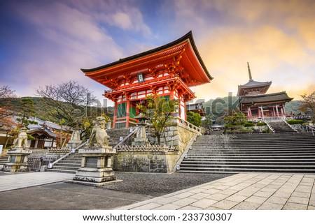 Kyoto, Japan at Kiyomizu-dera Temple. - stock photo