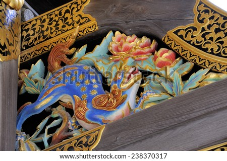 KYOTO, JAPAN - NOVEMBER 8, 2014: Detail of the main palace building at Nijo Castle. This is an UNESCO World Heritage site and built in 1626. November 8, 2014 Kyoto, Japan - stock photo
