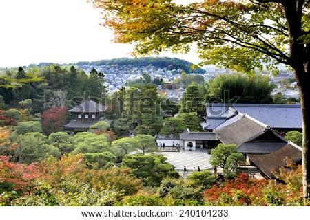 KYOTO,JAPAN-NOVEMBER 10, 2014;View at Ginkaku-ji Temple and Silver Sand Sea (Ginshadan). Gingaku-ji,as the Temple of the Silver Pavilion. It's an Unesco World Heritage site. November 10, 2014 Kyoto, Japan - stock photo