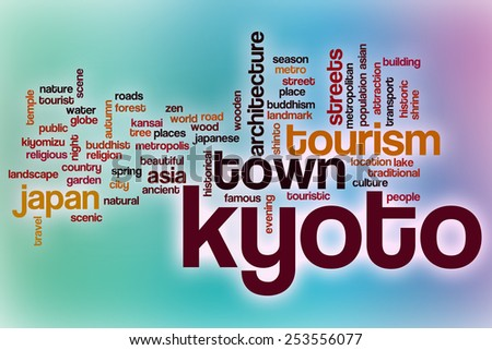 Kyoto word cloud concept with abstract background - stock photo