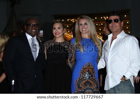 "L.A. Reid, Demi Lovato, Britney Spears and Simon Cowell at the ""The X Factor"" Season 2 Premiere and Handprint Ceremony, Chinese Theater, Hollywood, CA 09-11-12 - stock photo"