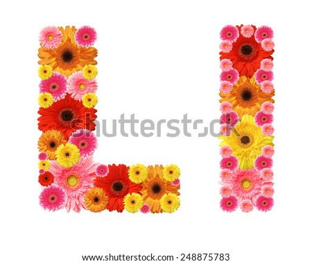 l, flower alphabet - stock photo