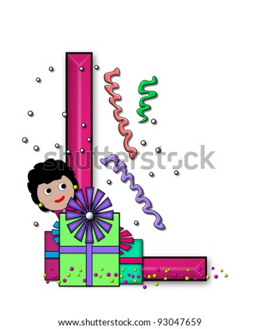 """L, in the alphabet set """"Birthday Letters"""", is surrounded by colorfully wrapped presents complete with bows.  Woman hides behind presents and peeks out pretending surprise. - stock photo"""