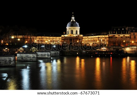 L'Institut de France and the river Seine in paris - stock photo