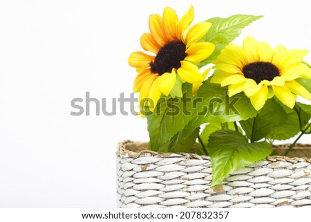 l sunflower bouquet in a basket - stock photo