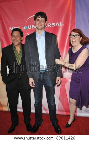 "L to R: Oscar Nunez, Zach Woods & Kate Flannery - stars of ""The Office"" - at NBC Universal TV Summer Press Tour Party in Beverly Hills.  July 30, 2010  Los Angeles, CA Picture: Paul Smith / Featureflash - stock photo"