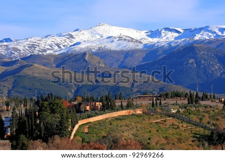 La Alhambra de Granada, Sierra Nevada - stock photo