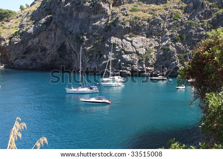 La Calobra beach at the spanish island Mallorca - stock photo