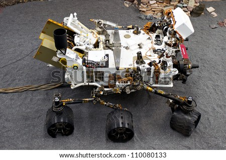 LA CANADA, CA - AUGUST 13: A duplicate of the NASA Mars Science Laboratory, named Curiosity, in the lab at the Jet Propulsion Laboratory in La Canada, CA on August 13, 2012. - stock photo