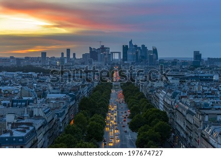 La Defense at sunset as seen from the Arc de Triomphe - stock photo
