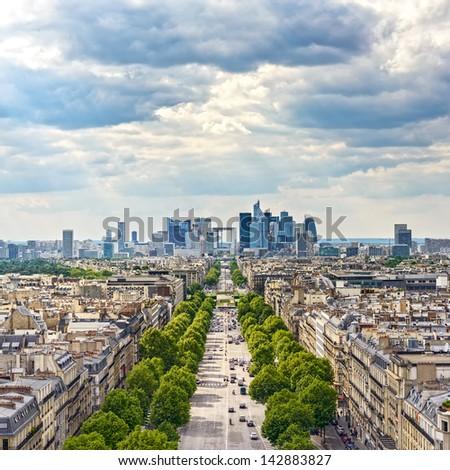 La Defense business area, La Grande Armee avenue. View from Arc de Triomphe. Paris, France, Europe. - stock photo