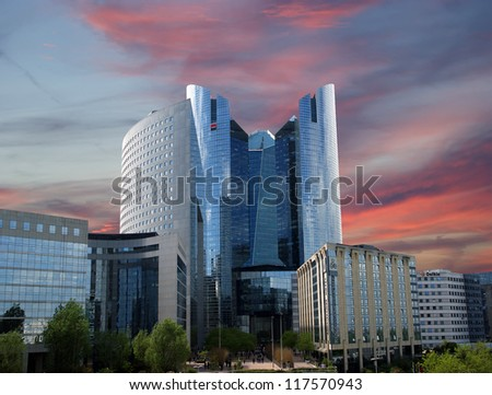 La Defense, commercial and business center of Paris, France - stock photo