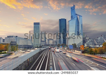 La Defense, Paris. Image of office buildings in modern part of Paris- La Defense during sunset. - stock photo
