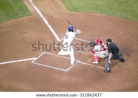 LA Dodger, #99, Manny Ramirez batting during National League Championship Series (NLCS), Dodger Stadium, Los Angeles, CA on October 12, 2008 - stock photo