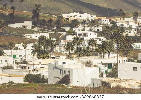 La Haria in Lanzarote - popular tourist destination. - stock photo