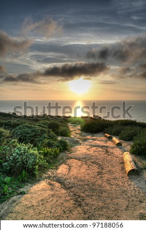 La Jolla Cliffs Sunset near UCSD, San Diego, CA - stock photo