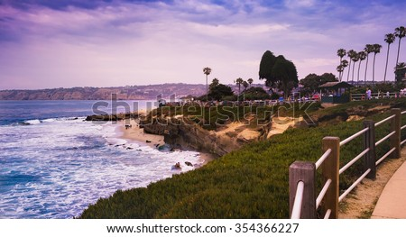 La Jolla Cove beach in San Diego, California USA. - stock photo