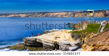 La Jolla Cove Panorama.  San Diego California USA. - stock photo