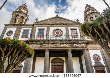 La Laguna Cathedral with Drago Trees - San Cristobal de La Laguna (Unesco), Tenerife, Canary Islands, Spain - stock photo
