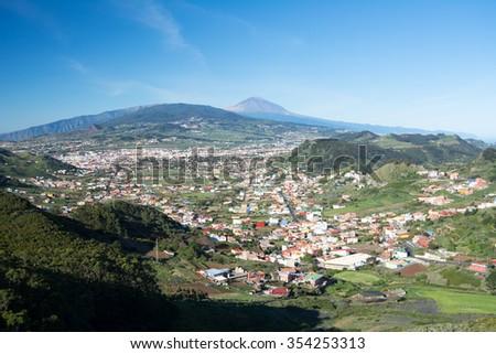 La Laguna landscape from Anaga, Canary Island - stock photo