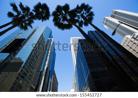 LA Los Angeles downtown with palm trees details on cityscape - stock photo