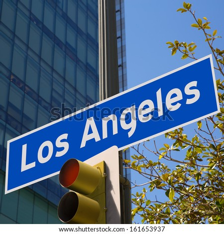LA Los Angeles sign in redlight photo mount on downtown image - stock photo