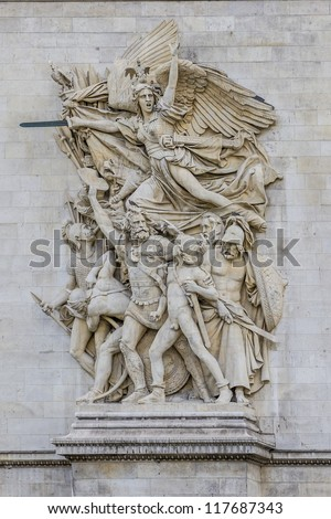 La Marseillaise (Francois Rude) - Sculptural group at the base of Arc de Triomphe de l'Etoile. Arc was built by architect Jean Shalgrenom by order of Napoleon to commemorate victories of his Army. - stock photo
