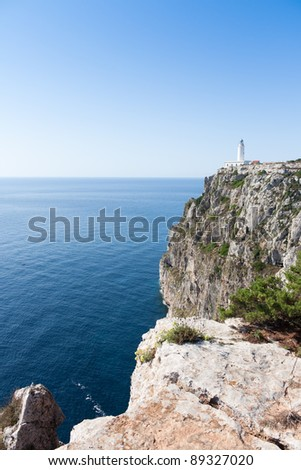 La Mola lighthouse in Formentera island - stock photo