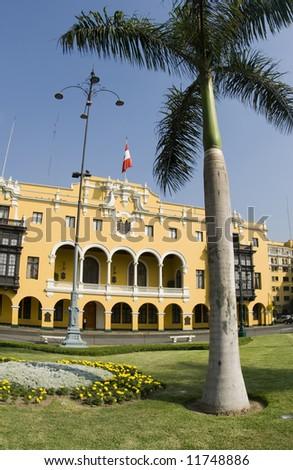 la municipalidad de lima municipal building city hall on plaza mayor armas lima peru - stock photo