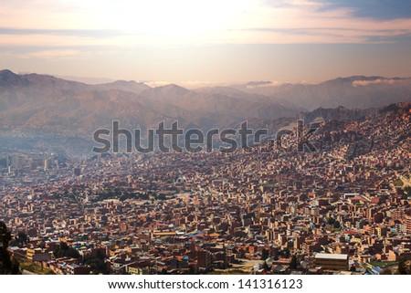 La Paz at dark - stock photo