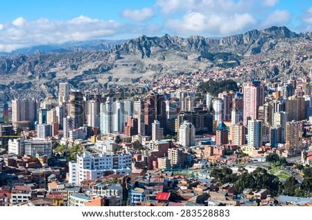 LA PAZ, BOLIVIA - APR 05, 2015: Cityscape of La Paz in Bolivia  - stock photo