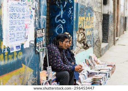 LA PAZ, BOLIVIA Circa March 2015: a street vendor in la paz - stock photo