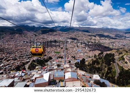 LA PAZ, BOLIVIA - Circa March 2015: the cable car in la paz w selective focus - stock photo