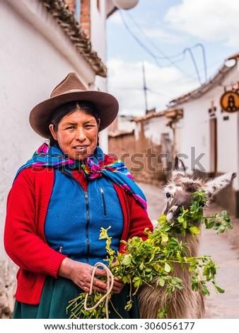 LA PAZ, BOLIVIA Circa March 2015: traditionally clothed people in bolivia - stock photo