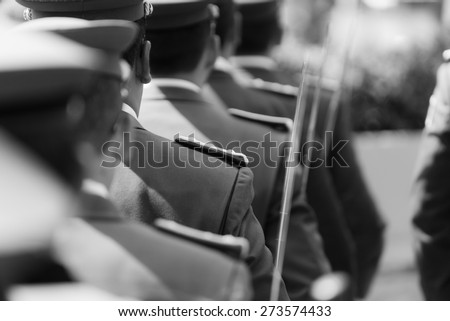 LA PAZ, BOLIVIA [DIA DEL MAR] March 23, 2015: A shallow bokeh shot of soldiers standing in a row at the Dia del Mar in Bolivia commemorating the loss of the sea to chile - stock photo