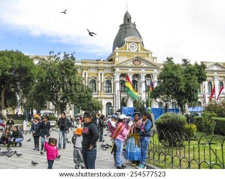 LA PAZ, BOLIVIA - JAN 21, 2015: people at legislative Palace, seat of the government since 1905, on Plaza Murillo in the city of La Paz, Bolivia. - stock photo