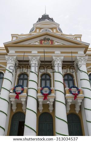 LA PAZ, BOLIVIA, JANUARY 3: Government Palace of Bolivia, Plaza Murillo in La Paz. Classical colonial architecture. Bolivia 2015 - stock photo
