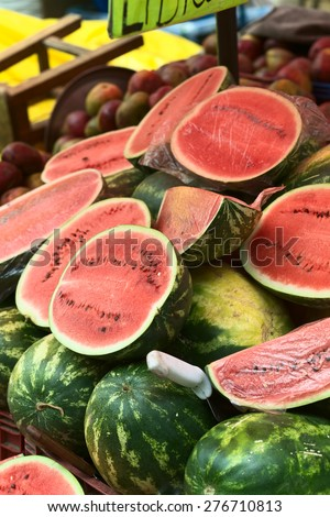LA PAZ, BOLIVIA - NOVEMBER 10, 2014: Watermelon stand along Max Paredes street in the city center on November 10, 2014 in La Paz, Bolivia (Selective Focus, Focus one third into the image) - stock photo
