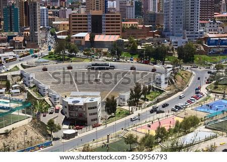 LA PAZ, BOLIVIA - OCTOBER 14, 2014: Open air theater next to the Parque Urbano Central (Central Urban Park) along Avenida del Poeta on October 14, 2014 in La Paz, Bolivia   - stock photo