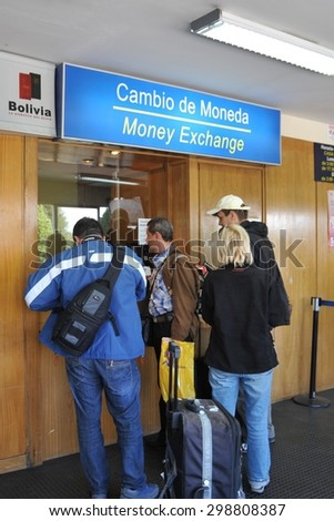LA PAZ, BOLIVIA - SEPTEMBER 3, 2010: Currency exchange at the airport La Paz.The actual capital of Bolivia, where most of the state institutions and the residence of the President of the country. - stock photo