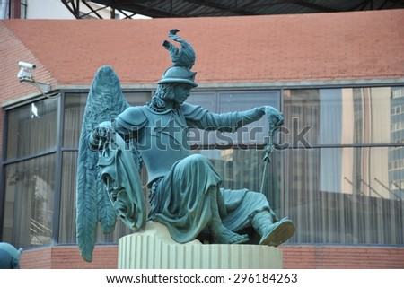 LA PAZ, BOLIVIA - SEPTEMBER 11, 2010:Sculpture on the streets of La Paz.The actual capital of Bolivia, where most of the state institutions and the residence of the President of country. - stock photo