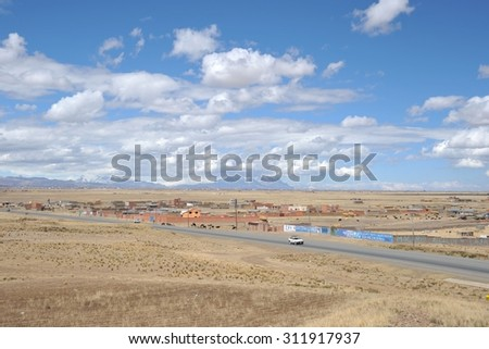 LA PAZ, BOLIVIA - SEPTEMBER 3, 2010:The actual capital of Bolivia, where most of the state institutions, although the constitutional capital is Sucre. The outskirts of the city of La Paz - stock photo