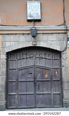 LA PAZ, BOLIVIA - SEPTEMBER 5, 2010: The entrance gate outside La Paz. The actual capital of Bolivia, where most of the state institutions and the residence of the President of the country. - stock photo