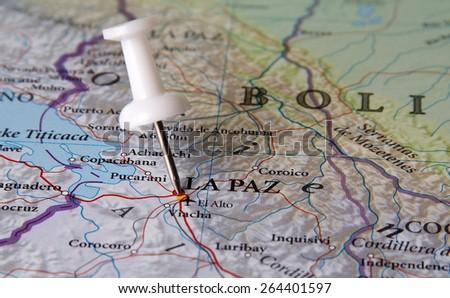 La Paz destination in the map - stock photo