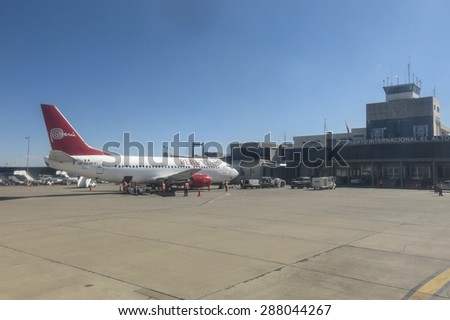 LA PAZ - MAY 6: El Alto Airport on May 6, 2015 in La paz, Bolivia. Located at an altitude of 4008 meters, El Alto is the highest international airport in the world - stock photo