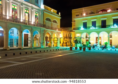 La Plaza Vieja or Old Square , a well known touristic landmark in Old Havana illuminated at night - stock photo