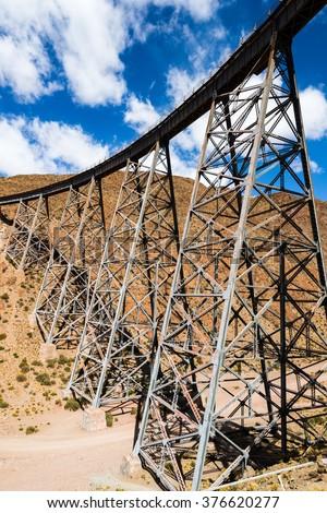 La Polvorilla viaduct in the Northwest of Argentina  - stock photo