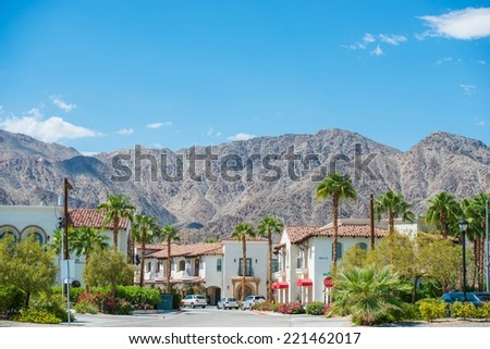 La Quinta Downtown California Coachella Valley. Old Town La Quinta with Mountain View, United States. La Quinta, Riverside County. - stock photo