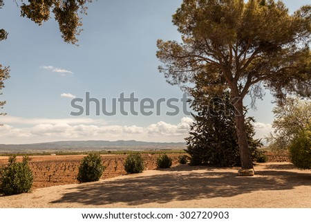 La Rioja Wine Country, road, mountains, clouds and sky - stock photo