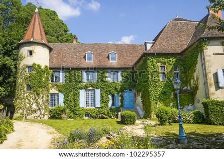 La-Tour-du-Pin (Isere, Rhone-Alpes, France) - Castle and its garden - stock photo